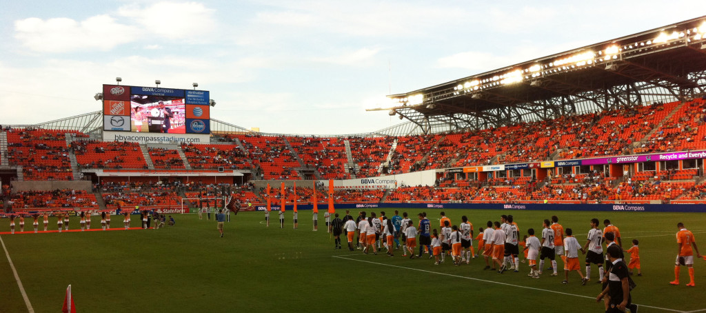 The Houston Dynamo and Valencia CF take the field in the 2012 Dynamo Charities Cup